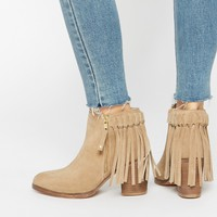 ASOS RHYMES Suede Western Fringe Ankle Boots at asos.com