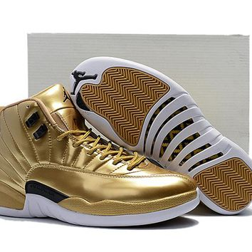 Air Jordan Retro 12 Metallic Gold Men Basketball Shoes 12s Gold Sports Sneakers New Released With Shoes Box