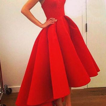 Pure Color Irregular Starpless Long Prom Party Dress