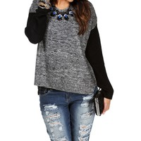 CharcoalBlack Marbled V-Neck Sweater