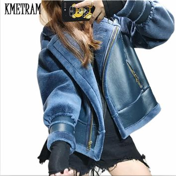 KMETRAM 2017 Fashion Autumn Winter Women's Motorcycle PU Leather Jacket Artificial Fur Coat Short Jacket Faux Fur Outwear HH505