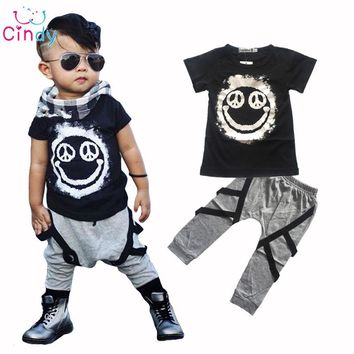 2017 Hot 2pcs Newborn Toddler Infant Kids Baby Boy Clothes T-shirt Tops Pants Outfits Set