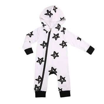 Spring Autumn Newborn Toddler Baby Boys Zipper star Long Sleeve Hooded Romper Jumpsuit Clothes Outfits 0-24M