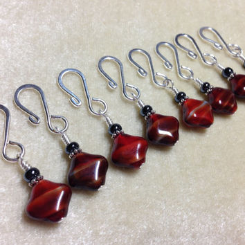 Removable Red Stitch Markers- Hook Style Stitch Markers- Knitting- Crochet Markers- Gift- Supplies- Tools