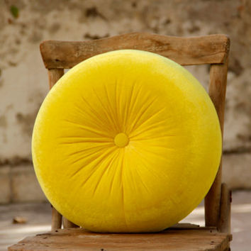 Bright yellow velvet round pillow 16""