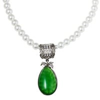 Imitation Pearl Necklace With Green Pendant