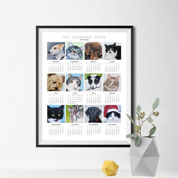 New year 2016 CALENDAR-printable-pet calendar-wall decor-kids room-print art-poster print-8,5X11-pet lovers-wall-cats-dogs-INSTANT DOWNLOAD