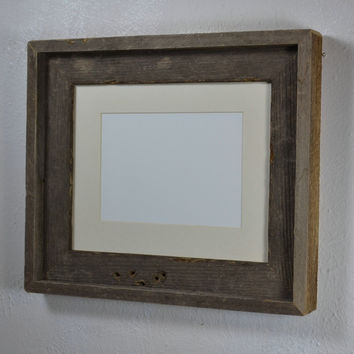 8x10 dark gray wood picture frame with off white mat for 5x7 or 8x6 photo or print