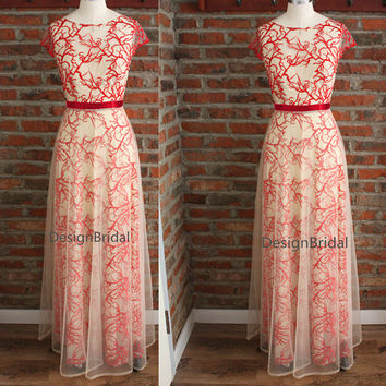 2015 Unique Maxi Evening Party Dress,Tree Branch Embroidery Dress Ivory Mesh,Unique Ball Dress,Long Hostress Homecoming Dress Ivory Blue