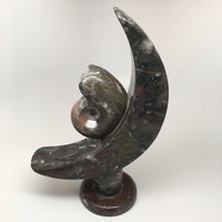 """9.75""""x5.75"""" Fossils Ammonite Moon Shape Sculpture Stand Alone @Morocco, MF1080"""