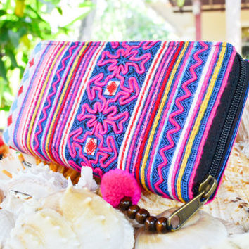 Beautiful Large Pink Hmong Purse / Colourful Handmade Purse / Handmade Bag /Handmade Wallet / Hill Tribe Purse / Hmong Wallet / Thai Bag