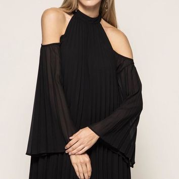 Cold Shoulder Pleated Shift Dress