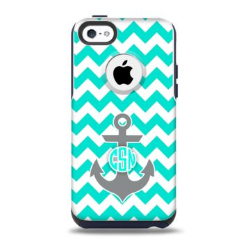 The Teal Green and Gray Monogram Anchor on Teal Chevron Apple iPhone 5c Otterbox Commuter Case Skin Set