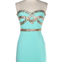 Crown Jewels Sweetheart Dress - Mint