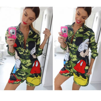 Sexy Striped Dress Summer Women's Casual Straight Short Knee-length Mickey Mouse Shirt Dress