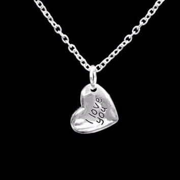 I Love You Heart Mother's Day Gift Wife Daughter Mom Charm Necklace