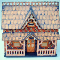 Haunted House Large Halloween Luminary Farmhouse Dollhouse Glitter Orange Black Handmade Hand Painted Tabletop One Of A Kind Wooden Heirloom