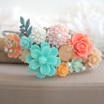 Bridal Headband Fascinator Pink Coral Mint Green Peach Maid of Honor Hair Band Bridesmaid Gift Head Piece Floral Crown Flower Pastel Colors