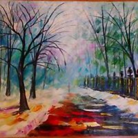 """Winter Fog — Oil Painting On Canvas By Leonid Afremov  Size: 24""""x30"""""""