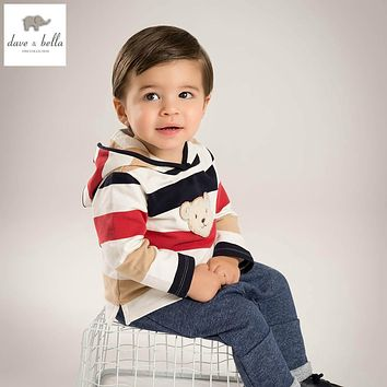 DB5161 dave bella spring new boy casual outerwear fashinable children clothes thin coat striped hoodie