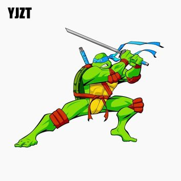 YJZT 15.9CM*12.7CM Car Sticker Teenage Mutant Ninja Turtles Reflective The Tail Of The Car Decal C1-7769