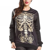 Womens Stylish Gothic Steampunk MECHANICAL Skeleton ribs Pullover Sweater Top-free size (Color: Black) = 1920130180