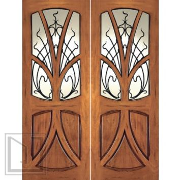 AN-2007-2 Mahogany Tree Lite Hand Carved Art Nouveau Double Door Forged Iron
