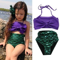 Two-piece Little Girls Mermaid Halter Swimsuit Infant Girls Swimmable Bikini Set Swimwear Swimsuit Swimming Costumes Swimmers