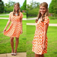 Sunny Day Chevron Dress in Tangerine