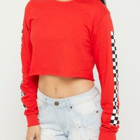 Red Checkered Sleeve Crop Tee | Long Sleeve Graphic Tees | rue21