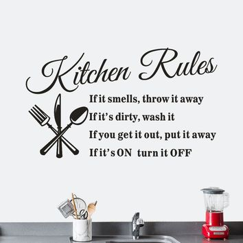 Removable Wall Vinyl Decal Decoration Quote Kitchen Rules