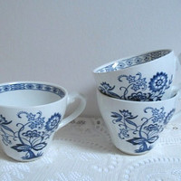 Vintage J & G Meakin Teacups Nordic Blue Onion Made in England  Blue and White Cups Set of 3