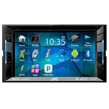 "JVC KWV130BT 6.2"" Inch Touch Screen Car CD DVD USB Bluetooth Stereo Receiver Bundle Combo With License Plate Mount Rear View Colored Backup Parking Camera, Enrock 22"" AM/FM Radio Antenna"
