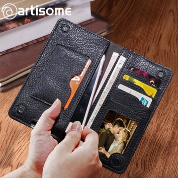 Universal PU Leather Wallet Men Female Women Purse Credit Card Holder Phone Bag Case For iPhone Samsung Huawei Xiaomi Redmi Case