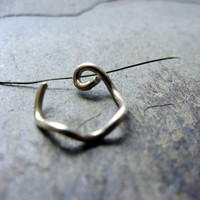squiggly nose ring-- 18g custom hoop-- primitive series-- handmade by thebeadedily on etsy