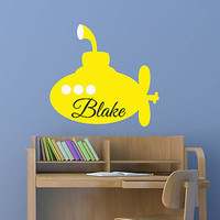 Yellow Submarine Custom Name Personalized Vinyl Wall Decal Sticker