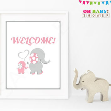 Welcome Sign Elephant Baby Shower Sign Pink Gray Printable Girl Instant Download Baby Decor Baby Shower Table Sign Decorations EL0005-lp