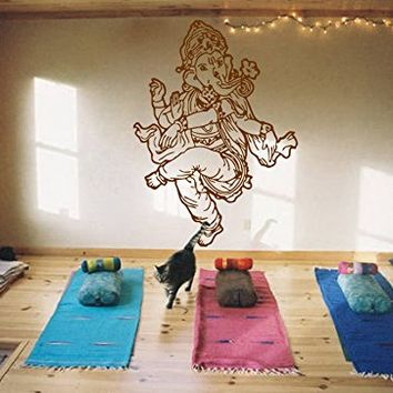 ik473 Wall Decal Sticker Room Decor Wall Art Mural Indian god Ganesha Om Elephant Hindu welfare bedroom living room meditation Yoga