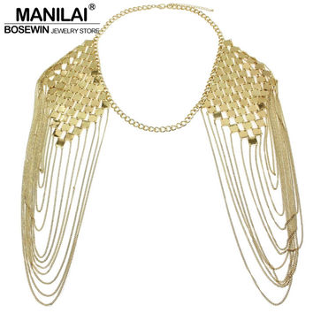 Bohemian Punk Statement Necklaces Collar Shoulder Chain Long Necklaces    Pendants Women Sexy Statement Body Jewelry a1db4875e6