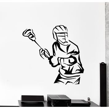 Vinyl Wall Decal Lacrosse Game Ball Player Sport Decor Stickers Mural (g549)