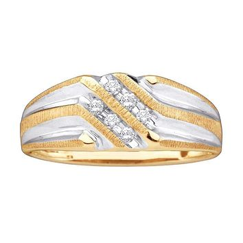 10kt Yellow Gold Men's Round Diamond Double Row Two-tone Ridged Wedding Band Ring 1/8 Cttw - FREE Shipping (US/CAN)