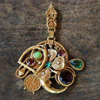 Vintage ART© Pendant Fob Clip Arthur Pepper Clover Clock Snake Moon Charms Green Purple Rhinestones // Vintage Designer Costume Jewelry