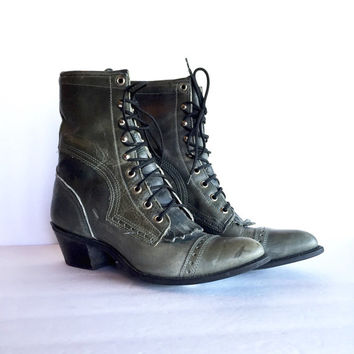 Capezio Western Lace Up Boots Size 8.5 Women's