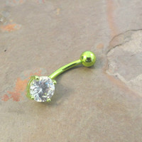 Lime Green Belly Button Ring Jewelry