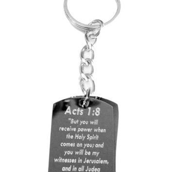 Acts 1:8 Bible Biblical Verse 'But You Will Receive Power the When Holy Spirit...' Jesus Christ Christian Christianity Logo Symbols - Metal Ring Key Chain Keychain