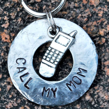 Pet ID Tag // Dog Tag // Dog Collar Tag // Personalized // Pet Charm // Keychain // Hand Stamped // Call My Mom