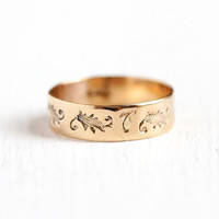 Victorian Baby Band - Antique 10K Rosy Yellow Gold Ring - Size 3 1/4 Vintage Leaf Motif Cigar Band Style Dainty Wide Fine Midi Jewelry