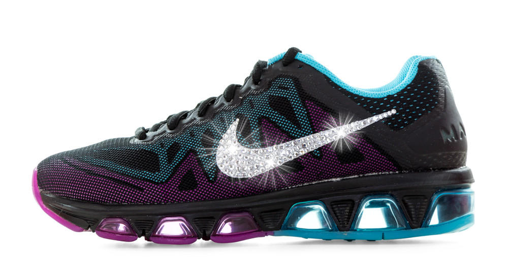 Nike Air Max Tailwind - Crystallized Swarovski Swoosh - Black Purple Teal 9d8ca86ee5fc