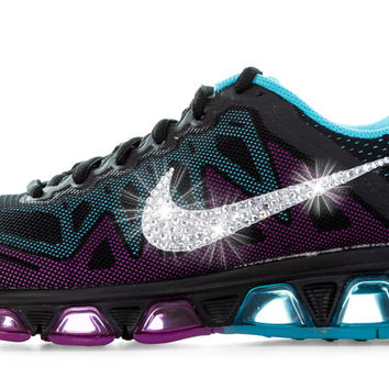 Nike Air Max Tailwind - Crystallized Swarovski Swoosh - Black/Purple/Teal