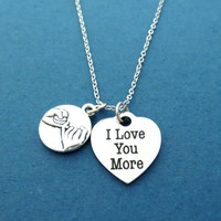 I Love You More, Pinky promise, Heart, Necklace, Pinky, Promise, Love, Jewelry, Birthday, Valentine, Friendship, Gift, Jewelry, Accessory